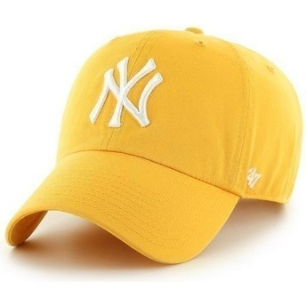 47 Brand Curved Brim Large Front Logo MLB New York Yankees Yellow Cap