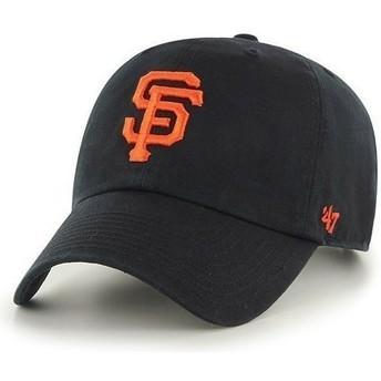 47 Brand Curved Brim Large Front Logo MLB San Francisco Giants Black Cap