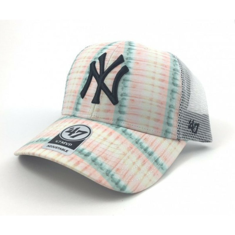 47-brand-flower-print-new-york-yankees-mlb-pink-trucker-hat