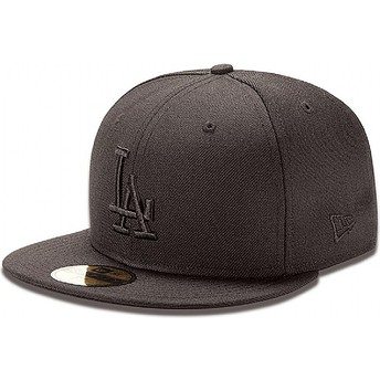 New Era Flat Brim 59FIFTY Black on Black Los Angeles Dodgers MLB Black Fitted Cap