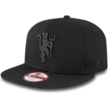 New Era Flat Brim 9FIFTY Black on Black Manchester United Football Club Black Snapback Cap