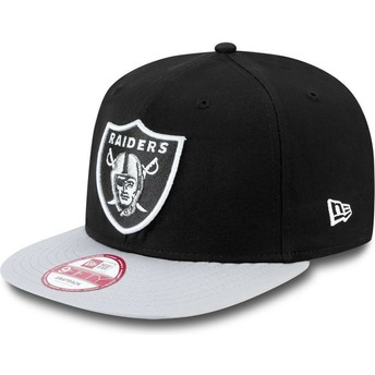 New Era Flat Brim 9FIFTY Cotton Block Oakland Raiders NFL Grey Snapback Cap