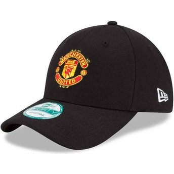 New Era Curved Brim 9FORTY Essential Manchester United Football Club Black Adjustable Cap