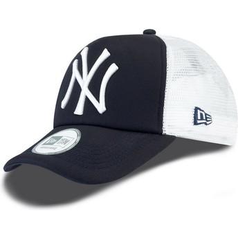 New Era Clean A Frame New York Yankees MLB Navy Blue Trucker Hat