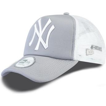 New Era Clean A Frame New York Yankees MLB Grey Trucker Hat