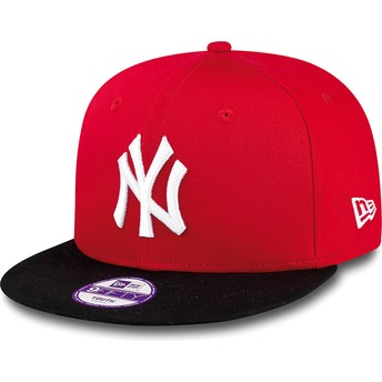 New Era Flat Brim Youth 9FIFTY Cotton Block New York Yankees MLB Red Snapback Cap