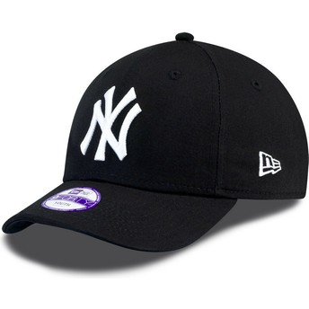 New Era Curved Brim Youth 9FORTY Essential New York Yankees MLB Black Adjustable Cap